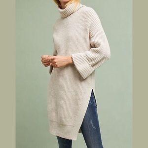 Moth Asymmetric Knit Cuff Sleeve Turtleneck Tunic